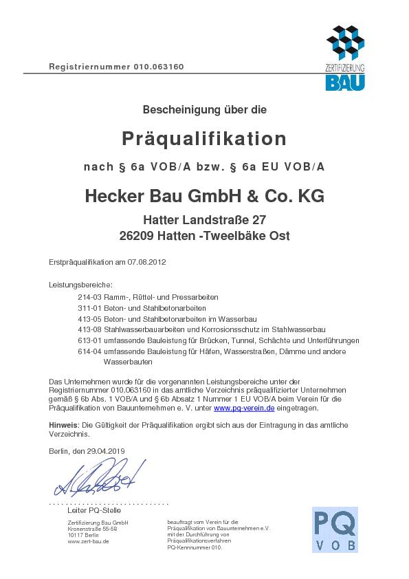 Präqualifikation nach § 6a VOB/ A bzw . § 6a EU VOB/A