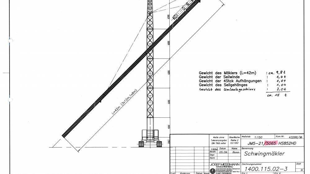 Hersteller: Messmann  Typ: JM 5-20  Nutzlast, max.: 18 t Ausführung: Standard  Profil: 5065   Mäklerlänge: 42 m