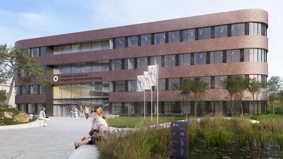 Neubau mit Kupferfassade und markanten Rundungen